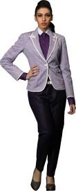 DheerajSharma Solid Single Breasted Casual Women's Blazer(Purple)
