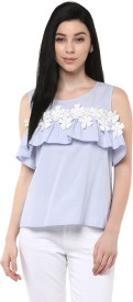 Honey By Pantaloons Casual Sleeveless Solid Women's Blue Top