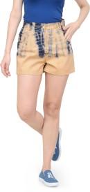 Teesort Printed Women's Brown Basic Shorts, Hotpants