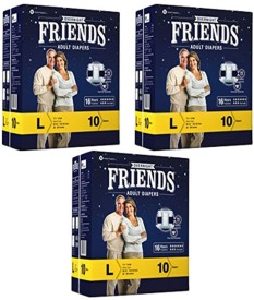 Friends Overnight Adult Diapers Large Pack of 3 - L(30 Pieces)