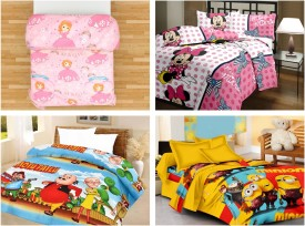 SR Crafts Cartoon Queen Blanket Multicolor(AC Dohar, 4 Blankets {Note: Pillow covers are not included})