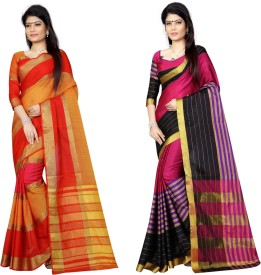 Pari Designer Self Design Fashion Cotton, Silk Saree(Pack of 2, Multicolor)