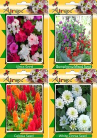 Airex Vinca, Gomphrena Mixed, Celosia and White Zinnia (Summer) Flower Seed (pack of 15 seed per packet) Seed(15 per packet)