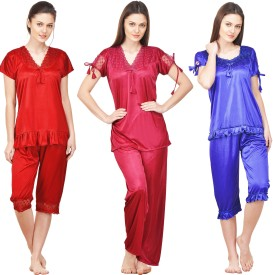 Boosah Women Solid Multicolor Top & Pyjama Set