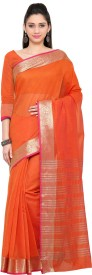 Mrinalika Fashion Solid Kanjivaram Art Silk Saree(Orange)