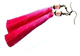 Bohocraft Bohemian Pink Silk Tassel Long Metal Dangle Earring