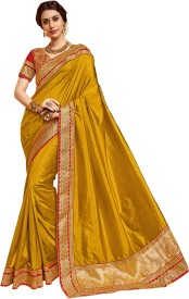 shangrila Self Design Fashion Silk Saree(Yellow)