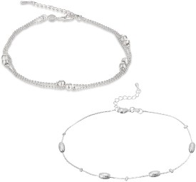 MOXIE Love Beads Links Sterling Alloy Anklet(Pack of 2)