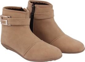 ABJ Fashion S Buckle Women's Stylish Beige Boots(Beige)