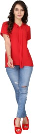 Popmantra Casual Short Sleeve Solid Women Red Top