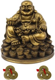 Kraft Village Laughing Buddha Sitting on Lucky Coins Carrying Ingot for Good Luck Showpiece - 13 cm(Polyresin, Multicolor)