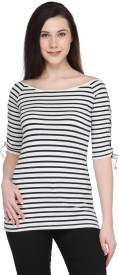 Pluss Casual 3/4th Sleeve Striped Women's White Top