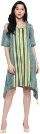 Akkriti by Pantaloons Women's High Low Green Dress