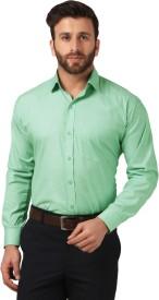Mesh Men's Solid Formal Green Shirt