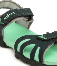 Spinn Women black sea green Sports Sandals