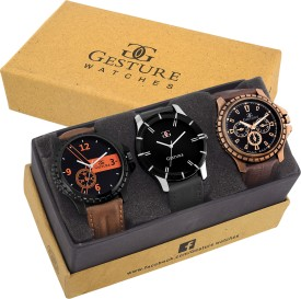 Gesture 7100-Exclusive Combo Elegant Analog Watch - For Men