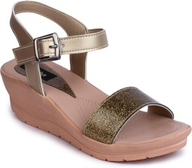 NAISHA Women Gold Wedges