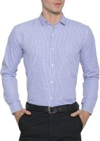 Being Fab Men's Checkered Formal Blue Shirt