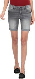 Alibi By Inmark Solid Women Denim Grey Denim Shorts