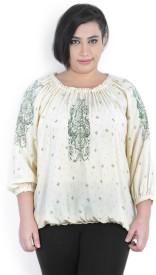 People Casual Full Sleeve Printed Women's Beige, Green Top