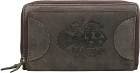 Style 98 Women Khaki Genuine Leather Wrist Wallet(16 Card Slots)