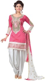 EJOTY FASHION Chanderi Embroidered Suit Fabric(Un-stitched)