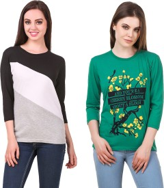 Rakshita Collection Printed Women's Round Neck Multicolor T-Shirt(Pack of 2)