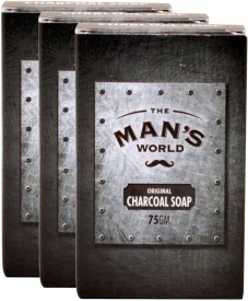 The Man's World Charcoal Soap - 75g (set of 3)(225 g)