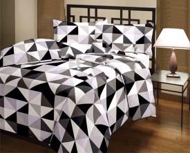 eCraftIndia Geometric Single Dohar Black, White(AC Dohar, One Single Bed Reversible AC Blanket)