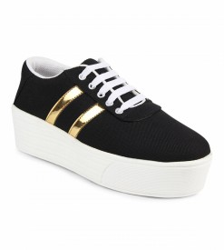 Zapatoz Sneakers(Black, Gold)