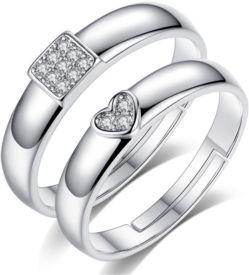 40272540c Karatcart Karatcart Platinum Plated Elegant Couple Adjustable Solitare Ring  Alloy Platinum Plated Ring