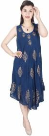 Crease & Clips Women's High Low Dark Blue Dress