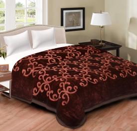 cliq Printed Double Blanket Brown(1 Blanket)