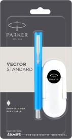Parker Vector Metallix Fountain Pen Fine Nib Chrome Trim CT Grey Body Ink Pen
