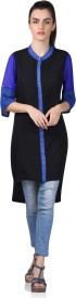 Shaper Solid Women's Kurti(Black)