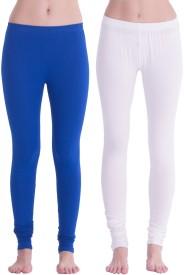 Spictex Girl's White, Blue Leggings