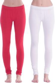 Spictex Girl's White, Red Leggings