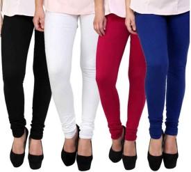 BuyNewTrend Women's Black, White, Maroon, Blue Leggings(Pack of 4)