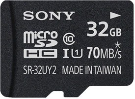 Sony 32GB MicroSDHC Class 10 (70MB/s) Memory Card (With Adapter)