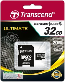 Transcend Ultimate 32GB MicroSDHC Class 10 (20MB/s) Memory Card (With Adapter)