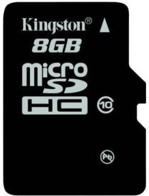 Kingston 8GB Class 10 MicroSDHC Memory Card