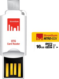 Strontium Nitro 433X 16GB MicroSDHC Class 10 (85MB/s) UHS-1 Memory Card (With OTG Card Reader)