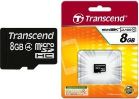 Transcend 8GB MicroSDHC Class 4 (6MB/s) Memory Card
