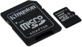 Kingston 16GB MicroSDHC Class 10 (80MB/s) Memory Card (With Adapter)
