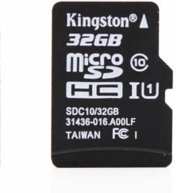 Kingston 32GB MicroSDHC Class 10 (80MB/s) Memory Card (With Adapter)
