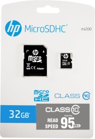 HP 32 GB MicroSDHC Class 10 (95Mb/s) Memory Card (With Adapter)