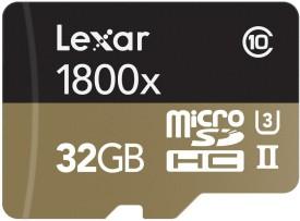 Lexar Professional 1800x 32GB Class 10 MicroSDXC UHS-3 (270 MB/s) Memory Card (With USB Reader& Adaptor)