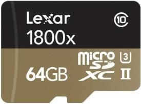 Lexar Professional 1800x 64GB MicroSDXC UHS-3 (270 MB/s) Memory Card (With Adaptor)