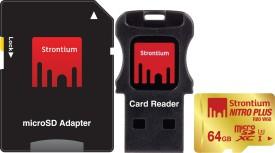 Strontium Nitro Plus 64GB MicroSDXC UHS-1/U3 Memory Card (With Card Reader & Adapter)