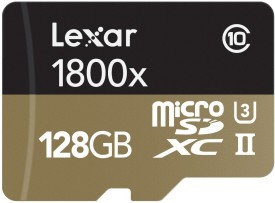 Lexar Professional 1800x 128GB MicroSDXC Class 10 (270MB/s) Memory Card (With Reader & Adapter)